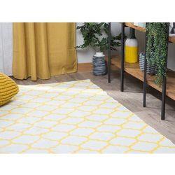 Dywan żółty 140 x 200 cm wzór marokańskiej koniczyny dwustronny AKSU