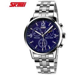 Zegarek męski SKMEI 9070 bransoleta srebrna blue - blue (steel)