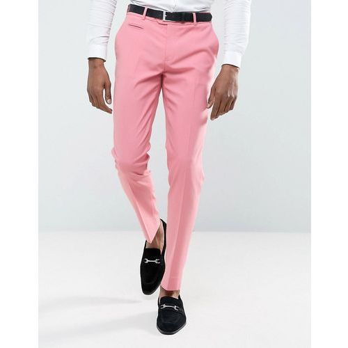 Spodnie męskie, ASOS Wedding Skinny Smart Trousers in Pink - Pink