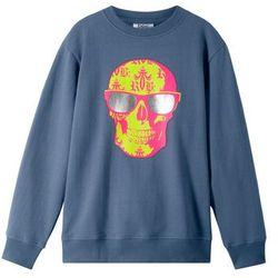 Bluza z modnym nadrukiem bonprix indygo z nadrukiem