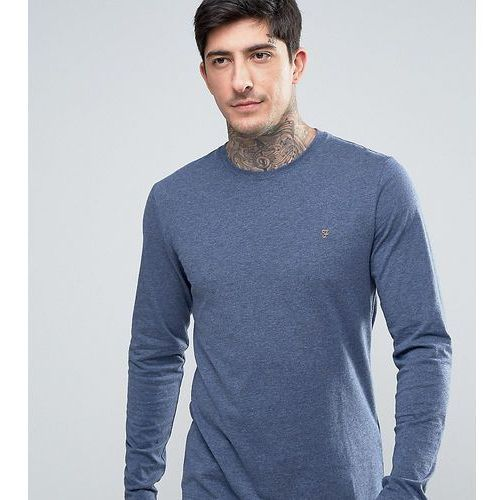 Koszulki z długim rękawem, Farah Twisted Yarn Long Sleeve T-Shirt in Navy Marl - Navy