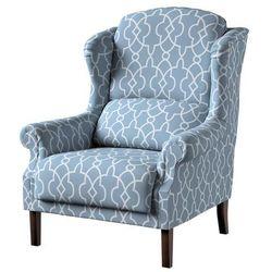 Dekoria Fotel Unique, błękitny w biały marokański wzó, 85 × 107 cm, Gardenia