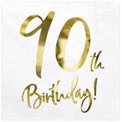 Serwetki urodzinowe na dziewięćdziesiąte urodziny - 90tka - 33 x 33 cm - 20 szt.