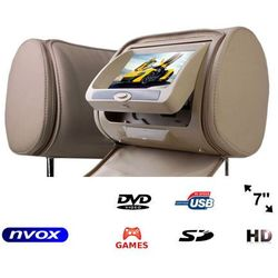 """Zagłówek multimedialny z ekranem 7"""" w rozdzielczości HD z DVD GRAMI USB SD oraz maskownicą"""