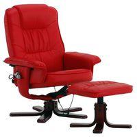 Fotele masujące, FOTEL MASUJĄCY WYPOCZYNKOWY BIUROWY MASAŻ GRZANIE - Czerwony 4400002 (-36%)