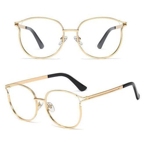 Pozostała galanteria, Okulary damskie zerówki złote kocie oko