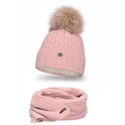 Komplet PaMaMi, czapka i szalik - Pudrowy róż - Pudrowy róż