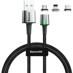 Baseus Zinc magnetyczny kabel USB + zestaw końcówek Lightning / USB Typ C / micro USB 3A 1m czarny (TZCAXC-A01) - 1