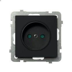 Gniazdo pojedyncze bez uziemienia z przesłonami Czarny metalik - GP-1RP/m/33 Sonata