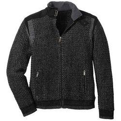Sweter rozpinany w strukturalny wzór bonprix czarno-dymny szary