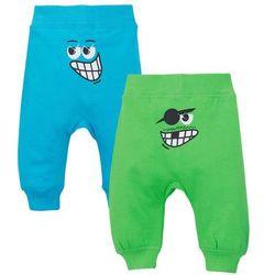 Spodnie dresowe niemowlęce (2 pary), bawełna organiczna bonprix jaskrawy zielony - turkusowy