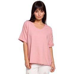 Różowa oversizowa bluzka bawełniana
