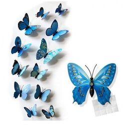 Ozdobne motylki niebieskie wzory - 11 x 9 cm - 12 szt.