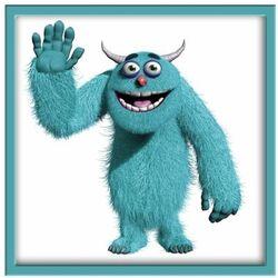 Obraz 20 x 20 cm Niebieski potworek turkusowa ramka