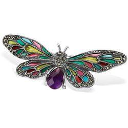 Srebrna broszka z markazytami motyl