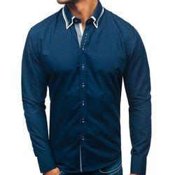 Koszula męska elegancka z długim rękawem granatowa Bolf 3704-1