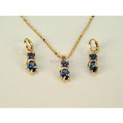 Komplet biżuterii orientalny, pozłacany z szafirami - złoto 18K