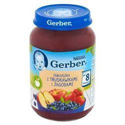 GERBER 190g Jabłuszka z truskawkami i leśnymi jagodami Deserek w słoiczku 8m+