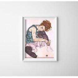 Plakat retro Plakat retro Siedząca kobieta z wygiętym kolanem Egon Schiele
