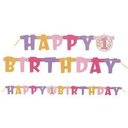 Baner na roczek 1st Birthday Baloniki Pink - 120 cm - 1 szt.