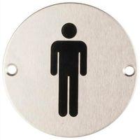 Oznakowanie informacyjne i ostrzegawcze, Oznaczenie toalet metalowe okrągłe - WC męskie mocowane na wkręty