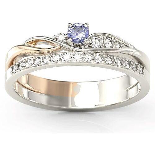 Pierścionki i obrączki, Pierścionek z białego i różowego złota z tanzanitem i brylantami BP-77BP-TAN/D - Białe i różowe \ Tanzanit