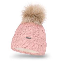 Zimowa czapka damska z warkoczem PaMaMi - Pudrowy róż