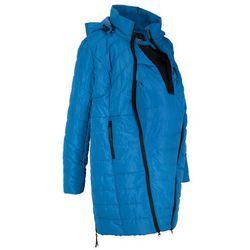 Długa kurtka pikowana ciążowa i z wstawką na nosidełko bonprix lazurowy