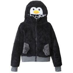 Bluza dziewczęca z polaru z motywem zwierzątka bonprix czarny Pingwin