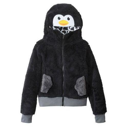 Bluzy dla dzieci, Bluza dziewczęca z polaru z motywem zwierzątka bonprix czarny Pingwin