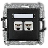Gniazdka, Gniazdo komputerowe Karlik Mini 12MGK-2 podwójne 2xRJ45, kat. 5e, 8-stykowy czarny mat