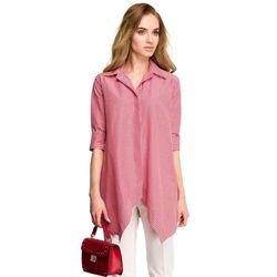 S106 Luźna koszula w krateczkę - czerwona