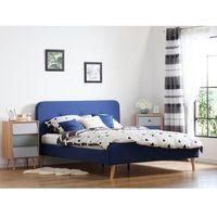 Łóżka, Łóżko granatowe - 160x200 cm - łóżko tapicerowane - RENNES
