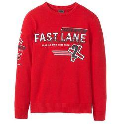 Sweter z bawełny z recyklingu Regular Fit bonprix czerwony z nadrukiem