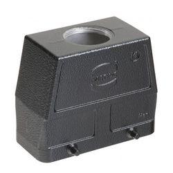 Harting 19-30-716-0427 Czarna obudowa wtyczki, rozmiar 16B, wejście górne M32, konstrukcja wysoka, cztery kołki; kompatybilne wkłady: m.in. 72 piny (Han 72DD), 40 pinów (Han 40D), Modularne