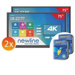 """Zestaw: 2x monitor interaktywny Newlinie TT-7518RS 75""""+ 2x mozaBook - 0 stawka VAT tylko dla szkół!"""
