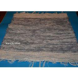 Chodnik bawełniany (wycieraczka) ręcznie tkany jasno szary-ecru, brzegi ecru 65x50