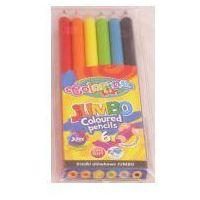 Kredki, Kredki ołówkowe jumbo 6 kolorów + temperówka