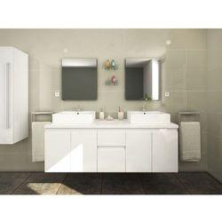 Meble łazienkowe LAVITA II podwieszane z podwójną umywalką i lustrami - Biały