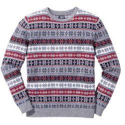 Sweter norweski z okrągłym dekoltem Regular Fit bonprix szary wzorzysty