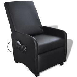 vidaXL Fotel masujący z eko-skóry, elektryczny, regulowany, czarny Darmowa wysyłka i zwroty