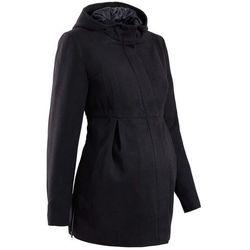 Bonprix Płaszcz ciążowy z kapturem, z regulacją obwodu czarny