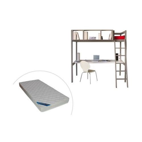 Łóżko piętrowe giacomo – 90 × 190 cm – wbudowane biurko i miejsce do przechowywania – drewno sosnowe w kolorze szarym, w zestawie z materacem marki Vente-unique.pl