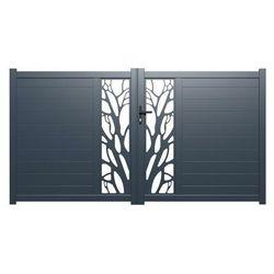 Brama wjazdowa rozwierna LABRIT z aluminium w kolorze antracytowym, z motywem ozdobnym – 350 × 160 cm (szer. × wys.)