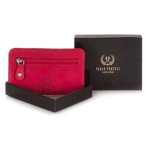Skórzany pokrowiec na klucze in-15 czerwony marki Paolo peruzzi