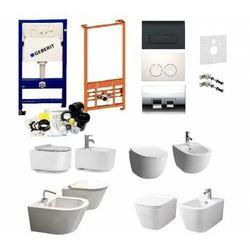 Kompletny zestaw (ceramika do wyboru) serii rimless: misa wc, bidet oraz stelaże podtynkowe geberit marki Swiss liniger