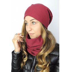 Jesienno-zimowy komplet czapka i komin damski – bordowy marki Ivon